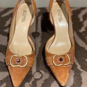 Michael Kors Camel Suede Heel Size 7.5M Vero Cucio